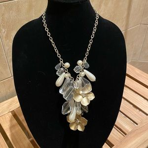 Crystal and gold flower chain necklace